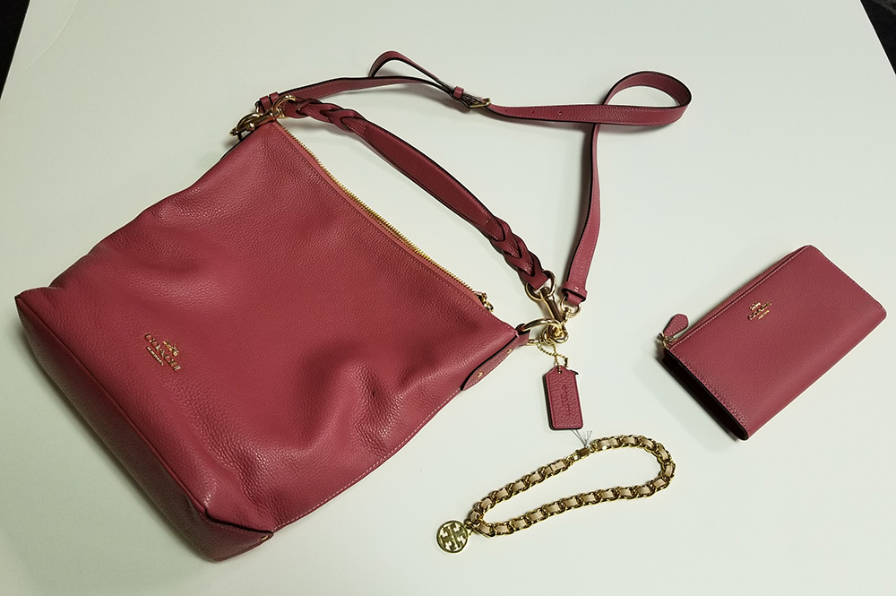 Rose Coach PurseCoach purse and wallet, color Rouge Tori Burch wrap bracelet